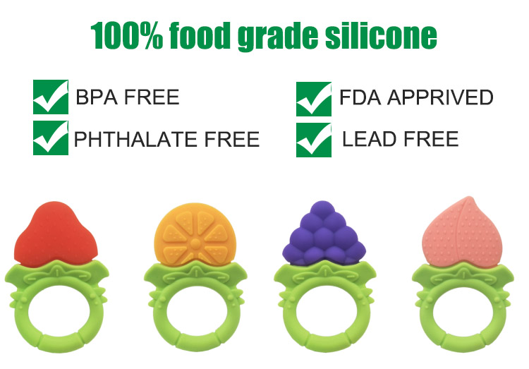 Manufacturer new BPA free customized diy food grade silicone soft baby teether teething toys